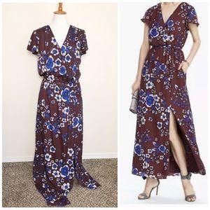 BANANA REPUBLIC Bordeaux Floral Maxi Dress M Tall